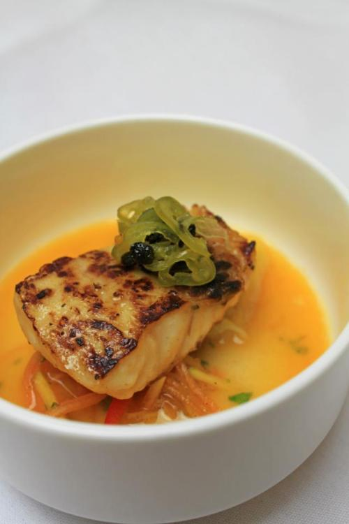 Course 1 Triggerfish Medallion  with Coconut-Chili Broth, Lobster Dumpling and Green-Papaya Salad
