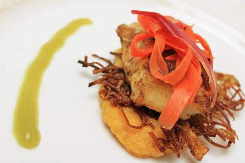 Course 4 Seared Triggerfish Sweet Potato-Apple Puree, Potato Crisp, Pickled Carrot & Apple Skin, Green-Apple Reduction