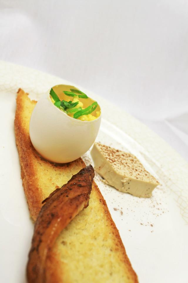 "Course 5 ""Bacon & Eggs"" Triggerfish Bacon, Soft Truffled Egg and Toast, Coffee Panna Cotta"