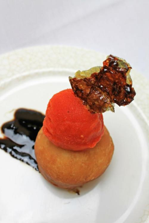Course 6 Candied Fish Skin with Roasted Red Pepper Sorbet, Lemon Doughnut and Balsamic Reduction