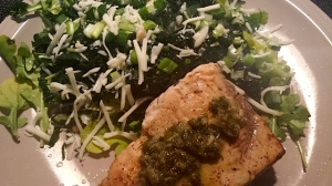 Swordfish Steak topped with leftover White Wine, Lemon Caper Sauce from the Seared Trout Recipe