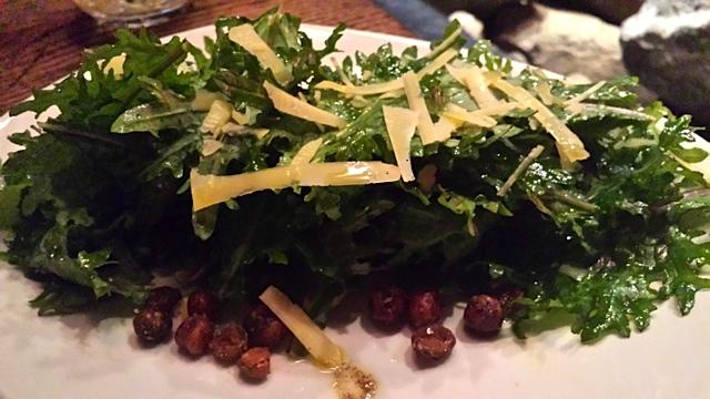 Baby Kale Salad: Calvander, Crispy Chickpeas, Lemon